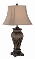 Table Lamp - Aged Silver/two Tone Fabric Shade, E27 A 100w