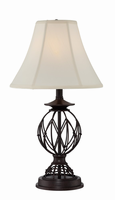 Table Lamp - Ant. Bronze/l. Beige Fabric Shade, E27 Cfl 13w
