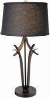 Table Lamp, Ant. Brz/black Fabric Shade, E27 Cfl 23w