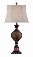 Table Lamp - Ant.brz/faux Marble/linen Shade, E27 A 150w