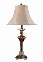 Table Lamp - Ant. Gold W.glass Deco./beige Fabric, A 150w