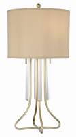 Table Lamp, Antique Brass/fabric Shade, E27 Type A 60wx2