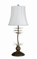 Table Lamp - Antique Bronze W/white Fabric Shd, 100w/a Type