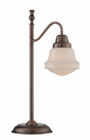 Table Lamp, Antique Copper/frost Glass Shade, E27 Cfl 13w