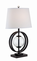 Table Lamp, Black/clear Glass/fabric Shade, E27 Cfl 23w