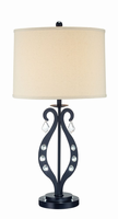 Table Lamp, Black/crystal Deco./linen Shade, E27 Cfl 23w