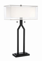 Table Lamp, Black/double Shades, E27 Type A 60wx2