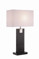 Table Lamp, Black Leather/white Fabric Shade, E27 A 60w