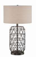 Table Lamp, Black Metal/linen Fabric Shade, E27 Type A 100w