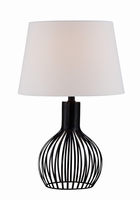 Table Lamp, Black Metal/off-white Fabric Shade, E27 Cfl 13w