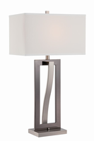 Table Lamp, Black/Polished Steel W/white Fabric Shade, E27 Type A 150w