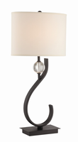 Table Lamp, Black/white Fabric Shade, E27 Type Cfl 23w