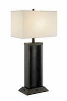 Table Lamp, Black/white Fabric Shade, Usb&outletx1/ea, A 60w