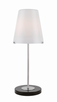 Table Lamp, Blk/Polished Steel/frost Glass Shade, E27 Cfl 13w