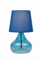 Table Lamp, Blue Glass Body/blue Fabric Shd, E27 Cfl 13w