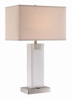 Table Lamp, Bn/fabric Shd, Usbx1 & Outletx1, E27 A 60wx2