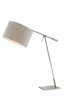 Table Lamp, Bn/l.grey Flannel Shade, E27 Type A 60w