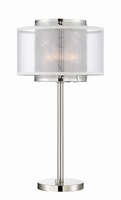 Table Lamp, Bn/outer Organza&inner Metal,e27 A16 Halogen 72w