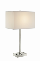 Table Lamp, Bn/white Fabric Shade, Outletx1&usbx1, A 100w