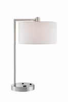 Table Lamp, Bn/white Fabric Shade, Outletx1&usbx1, E27 A 60w