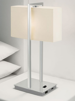 Table Lamp, Bn/white Fabric Shd, Outlet&usbx1pc/ea, A 60wx2