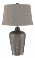 Table Lamp, Bronze Finished/grey Fabric Shade, E27 A 150w