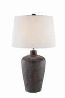 Table Lamp, Bronze Finished/white Fabric Shade, E27 A 150w