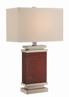 Table Lamp, Brown Leather Wrapped Body/fabric, E27 Cfl 23w