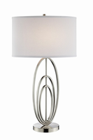 Table Lamp, Brush Nickel/white Fabric Shade, E27 A 100w