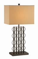 Table Lamp, Brushed Black/beige Fabric Shade, E27 Cfl 23w