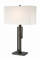 Table Lamp, Brushed Black/white Fabric Shade, E27 Type A 100