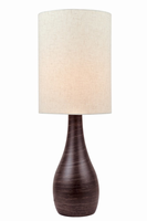 Table Lamp, Brushed Dark Bronze/linen Shade, E27 A 100w