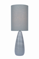 Table Lamp, Brushed Grey/grey Linen Shade, E27 A 60w