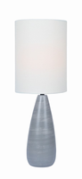 Table Lamp, Brushed Grey/white Linen Shade, E27 A 60w