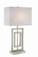 Table Lamp, Brushed Nickel/fabric Shade, E27 A 100w