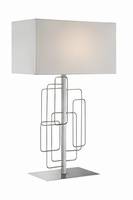 Table Lamp, Brushed Nickel/white Fabric Shade, E27 A 100w