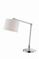 Table Lamp, Brushed Nickel/white Fabric Shade, E27 A 60w