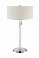 Table Lamp, Brushed Nickel/white Fabric Shade, E27 A 60wx2