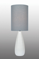 Table Lamp, Brushed White/grey Linen Shade, E27 A 60w
