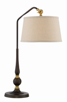 Table Lamp, Burnished Bronze/linen Fabric Shade, E27 A 100w