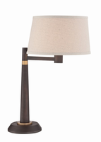 Table Lamp, Burnished Bronze/linen Fabric Shade, E27 Cfl 23w