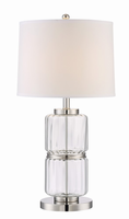 Table Lamp, C/clear Glass Body/white Fabric, E27 Cfl 23w
