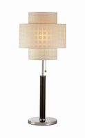 Table Lamp, C/leather Pole W/grid Pattern Shade, E27 Cfl 23
