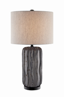Table Lamp, Ceramic Body/beige Linen Shade, E27 Type A 150w