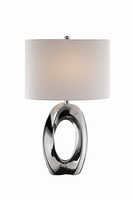 Table Lamp, Ceramic Body/white Fabric Shade, E27 Type A 150w