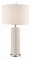 Table Lamp, Ceramic Grey/linen Fabric Shade, E27 Type A 100w