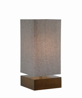 Table Lamp, Charcoal Finished/grey Fabric Shade, E27 A 100w