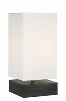 Table Lamp, Charcoal Finished/white Fabric Shade, E27 A 100w