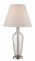 Table Lamp, Chrome/clear Glass/fabric Shade, E27 Cfl 23w