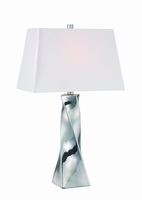 Table Lamp, Chrome Finished/fabric Shade, E27 Cfl 23w